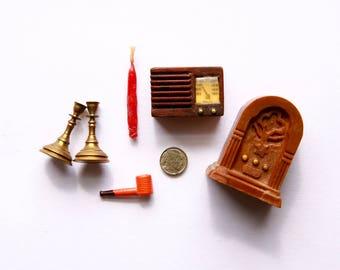 Dollhouse Radio, Miniature Pipe, Dollhouse Candle Sticks, Miniature Buffalo Nickel, Miniature Candle, Dollhouse Accessories