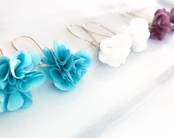 Flower tassel dangle earrings