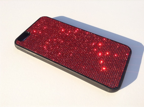 iPhone 6 Plus / 6s  Plus  Siam Red Rhinestone Crystals on Black Rubber Case. Velvet/Silk Pouch Bag Included,