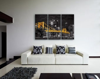Super Moon Selective Color Float Mount Photo Metal Print Triptych - Pittsburgh Skyline Photograph Picture Cityscape