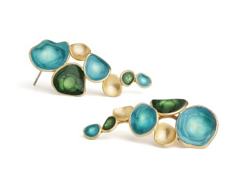 Green and Blue Earrings : Hand Made Earrings by oBo Creations