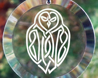 "Etched Celtic Owl 4"" Glass Ornament - Suncatcher, Owl, Sun-catcher, Celtic Knot, Owl Knot, Viking"