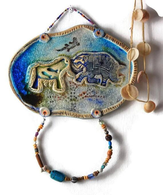 Ceramic Wall Hanging Housewarming Gift Pagan Art Good Luck
