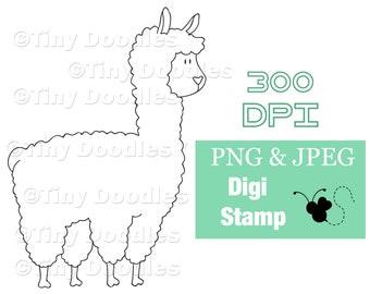 Alpaca, Llama, Digital Stamps, Digistamps, Digi Stamps, Digital Download, Digital Art, Digistamp Shop, Coloring, PNG, PNG Files