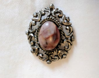 80s silver tone oval vintage brooch with pink stone