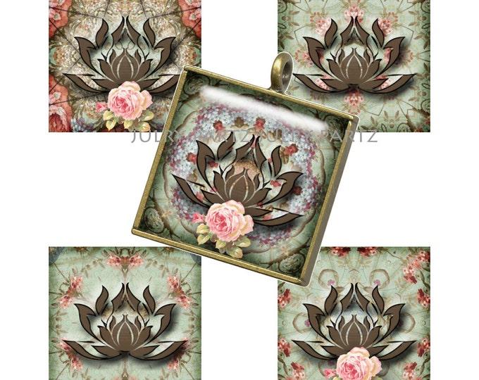 LOTUS Symbol 1x1 Square ,Printable Digital Images, Cards, Gift Tags, Scrabble Tiles, Yoga, Meditation