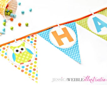 Boys Polka Dot Owls Printable Party Banner, Printable Owl Happy Birthday Banner, Owl Party Banner, Triangle Banner, Owl Birthday Garland
