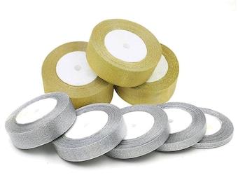 Gold Silver GLITTER Sparkle Organza RIBBON 6mm, 12mm, 25mm - 25Yds Giftwrap UK