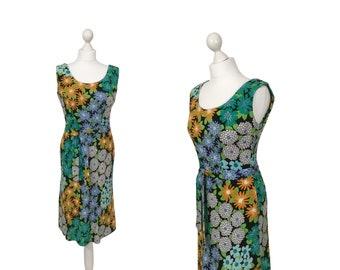 Floral Sommerkleid | 1970er Jahren Sonne Kleid | Orange, grün und blau gemusterten Vintage-Kleid