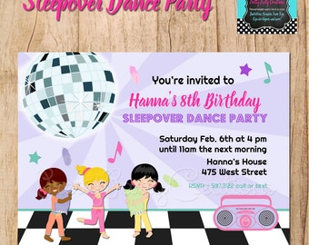 SLEEPOVER DANCE PARTY invitation - You Print