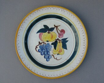 """1950s Stangl Terra Rose Fruit Chop Plate Hand Painted 12-1/2"""" Round Charger Platter Grapes Cherries Peach Pear Made in Trenton USA"""