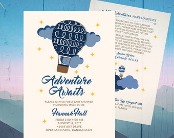 Adventure Awaits Baby Shower Invitation - Hot Air Balloons - Navy, Blue, Gold - Baby Sprinkle