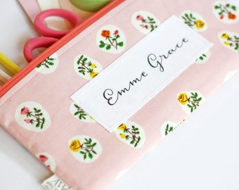 Add a Name to Any Apple White Pouch,  Personalize Zipper Pouch, Add a Name, Customize Name, Pencil Pouch, Add a Phrase to Your Pencil Bag