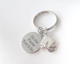 """Oh the Places you'll Go Keychain, Graduation keychain, Oh the places you""""ll go, class of 2018, 2018"""