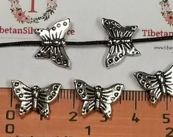 12 pcs per pack 16x10mm Reversible Butterfly Beads Antique Silver Finish Lead free Pewter