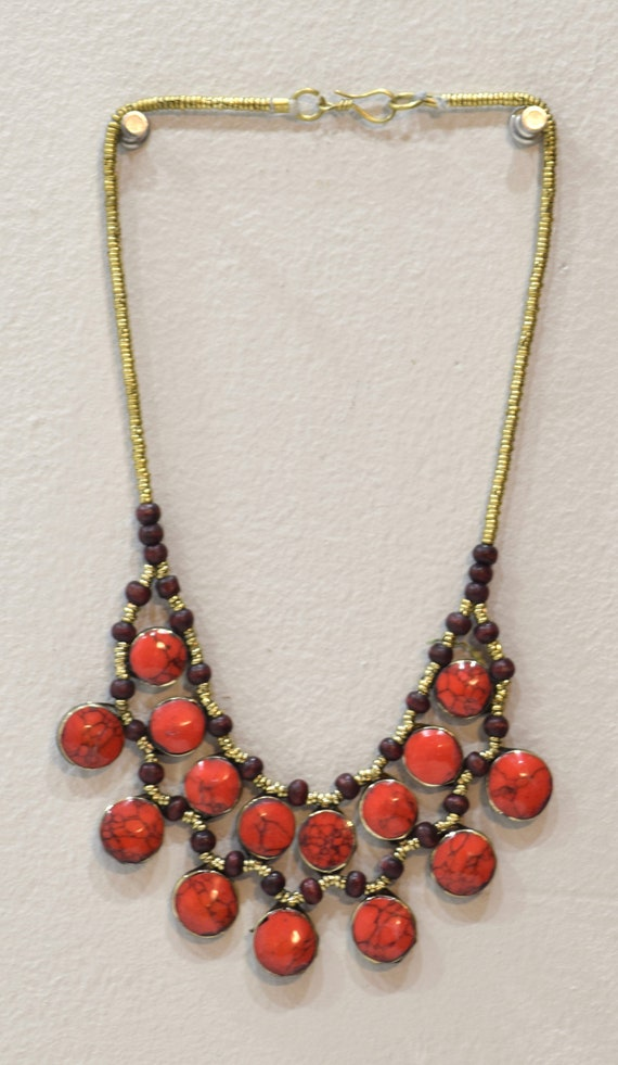 """Necklace Middle East Simulated Coral Tribal Necklace 22"""""""