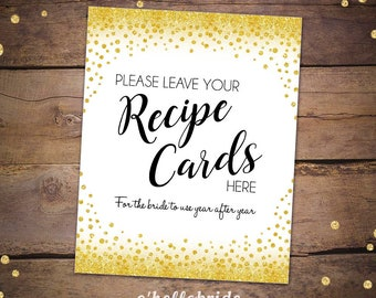 Please Leave Your Recipe Cards Sign - Printable Gold Confetti Bridal Shower Signs - Gold Bridal Shower - Bridal Recipe Card Sign 032