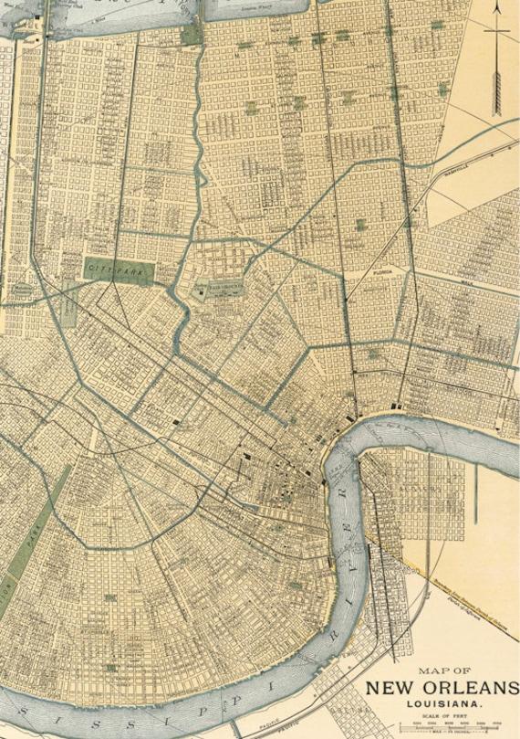 Vintage map of New OrleansInstant Digital DownloadOld map of