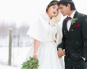"""Snow Queen Velvet Bridal Cape  women hooded cape hooded capelet Longer Length 20"""""""