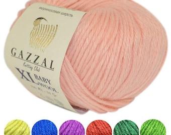 Yarn Gazzal Baby Wool XL yarn very bulky merino wool thick wool very bulky cashmere wool chunky yarn antibacterial wool hypoallergenic yarn