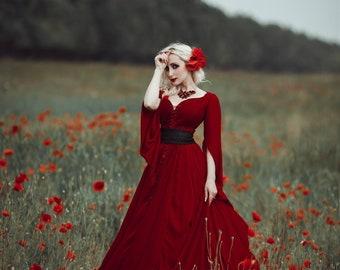 Red fairy dress for woman, fantasy costume, medieval outfit, renaissance fair dress, elven theme wedding dress, underbust velvet corset