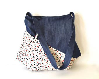 large bag, japanese bag, shoulder bag, large crossbody bag, denim large tote, large hobo bag