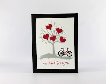 Valentine's Day Card - Hand Stamped Card - Card for a Loved One - Heart Card - Tree and Bicycle Card - Handmade Card - Happy Valentine's Day