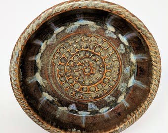 Coat of Many Colors Series Large Stoneware Garlic Grater Plate