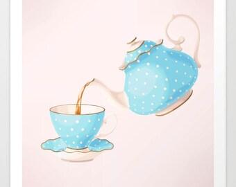 Tea Cup Watercolor Art Print, Tea Cup Wall Art, Tea Party Art Print, Tea Party Wall Art, Bakery Art Print, Bakery Wall Art, Kitchen Art