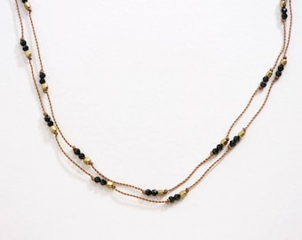 BLACK SPINEL Hand Knotted Necklace / Gemstone Necklace / Dainty Jewelry / Elegant / Layering Necklace / PEASEBLOSSOM Necklace