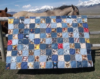 For the Love of Dogs Twin Size Denim Rag Quilt
