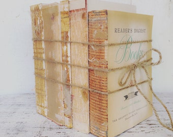 Farmhouse decor, Home Decor, Old books, Vintage books, modern farmhouse, Rustic farmhouse, Shabby Decor, Uncovered Book, Book stack, country