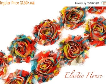 "Clearance 50% OFF SALE 2.5""  PRINTED Shabby Rose Trim - Orange Rainbow - Orange Chiffon Trim -Chiffon Trim -Hair Acessories Supplies"