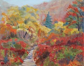 Vivid Autumn Fall Landscape Painting