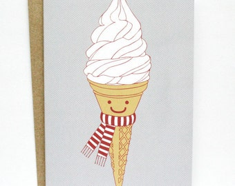 Happy Ice Cream - Illustrated Greeting Card - Christmas Card