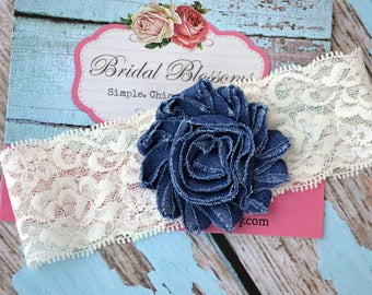 Something Blue Denim Ivory Bridal Garter | Jean Fabric Flower Lace Garter | Rhinestone Wedding Garter | Stretch Lace Garter Plus Size