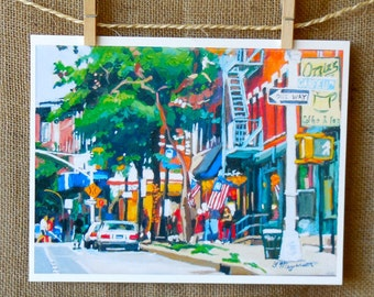 Brooklyn Park Slope Painting Coffee Cafe Park Slope Brooklyn Fine Art Print 8x10, Garfield Place Kos Kaffe Ozzies Painting by Gwen Meyerson