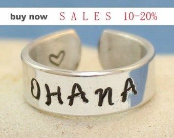 Ohana Ring - Personalized Ring - Adjustable Aluminum Wrap Ring.. Silver ring.. Best Gift. Gift....