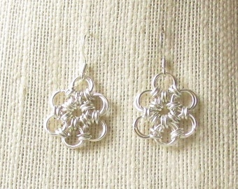 Silver Chainmaille Daisy Earrings unique chainmail flower design