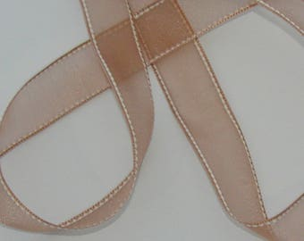 1 meter couture Brown organza Ribbon on white 24mm