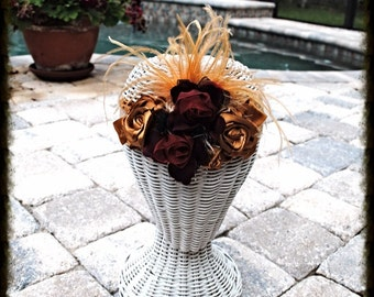 Satin Burgundy and Gold Floral Feather Metallic Gold Lace Headband