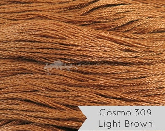 COSMO Embroidery Floss - No. 309 Light Brown | Lecien Cosmo 6 Strand Cotton Embroidery Thread for Embroidery, Quilting, Cross Stitch