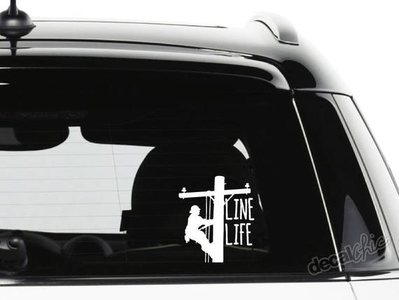 Line life lineman decal window inside or outside glass car
