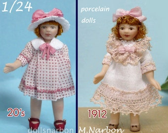 dollhouse 1/24 porcelain doll, 2 inches tall