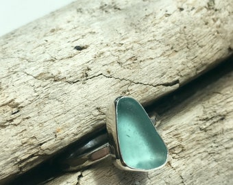 Aqua Sea Glass Ring Size 6.5