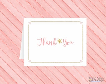 Pink Twinkle Little Star Baby Shower Thank You Card - Pink Gold Star Baby Girl Shower - Thank You Note - PRiNTABLE, INSTANT DOWNLOAD