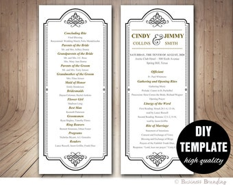 Classic Wedding Program Template,Unique Wedding Program,Black Wedding Program,Gold Wedding Program Printable,Elegant Wedding Program