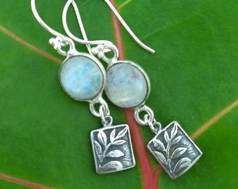 Rainbow Moonstone and Sterling SIlver Rustic Fern Earrings