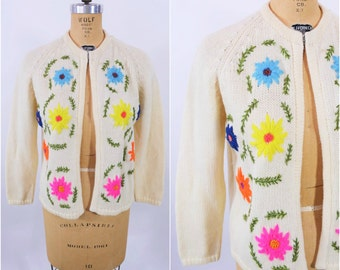 1960s floral cardigan | cream embroidered flowers wool sweater | vintage 60s cardigan