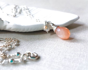 Sterling Silver Peach Moonstone and Pearl Necklace - 925 Sterling Silver Wrapped Peach Moonstone and Freshwater Pearl Drop Artisan